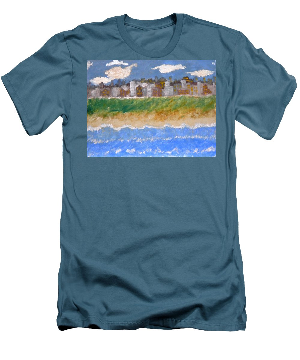 Seascape Men's T-Shirt (Athletic Fit) featuring the painting Crowded Beaches by R B