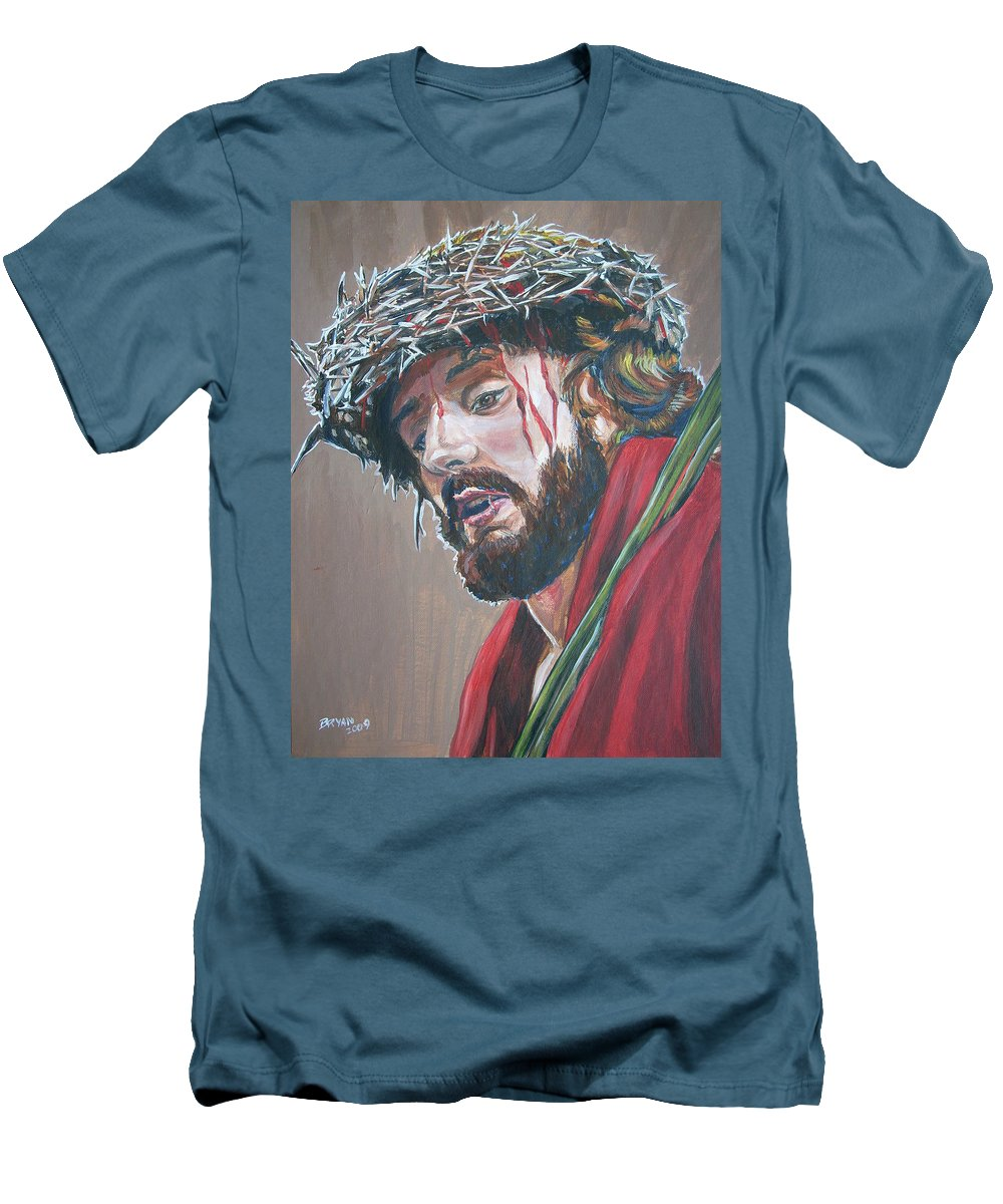 Jesus Christ Men's T-Shirt (Athletic Fit) featuring the painting Crown Of Thorns by Bryan Bustard