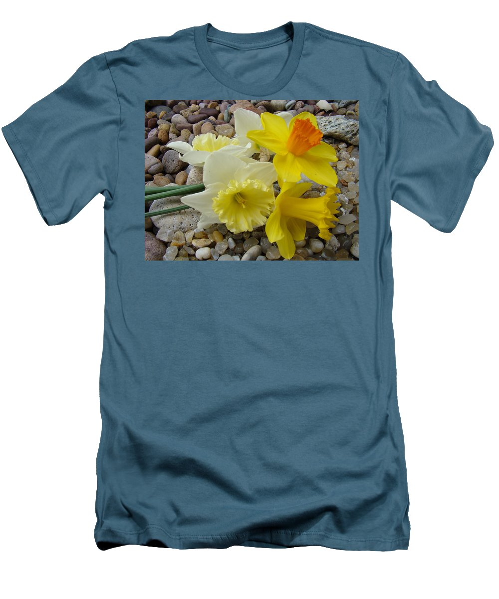 �daffodils Artwork� Men's T-Shirt (Athletic Fit) featuring the photograph Daffodils Flower Artwork 29 Daffodil Flowers Agate Rock Garden Floral Art Prints by Baslee Troutman