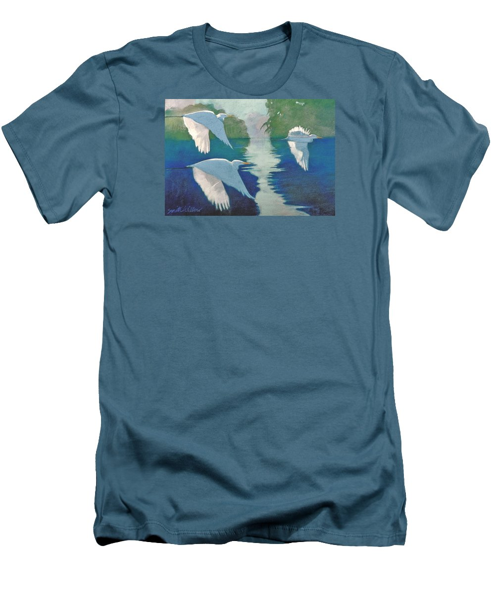 Birds Men's T-Shirt (Athletic Fit) featuring the painting Dawn Patrol by Neal Smith-Willow