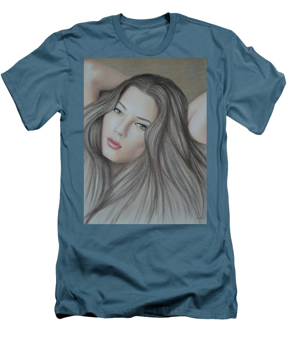 Woman Men's T-Shirt (Athletic Fit) featuring the painting Daydreaming by Lynet McDonald