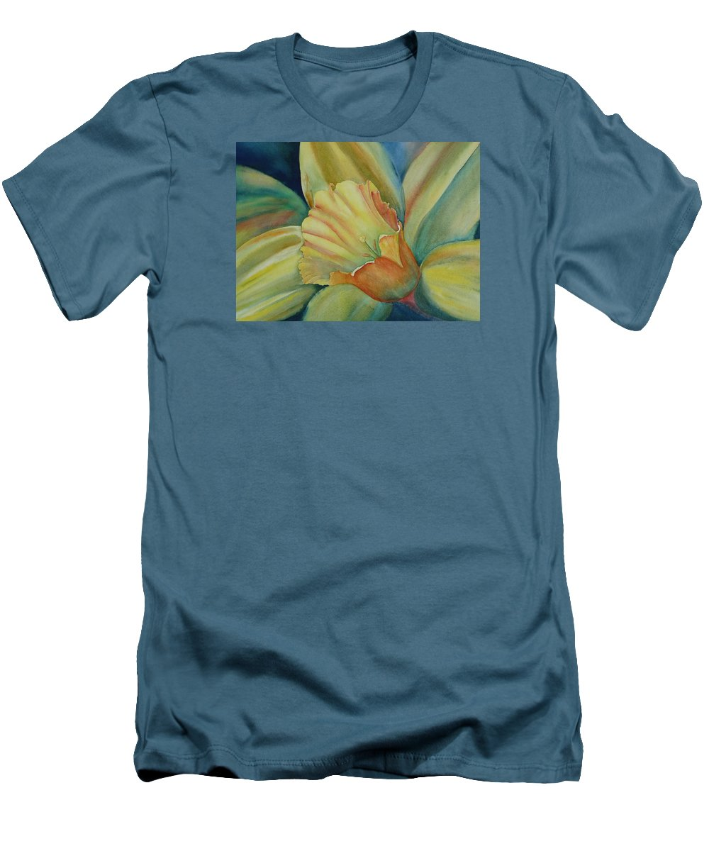 Flower Men's T-Shirt (Athletic Fit) featuring the painting Dazzling Daffodil by Ruth Kamenev