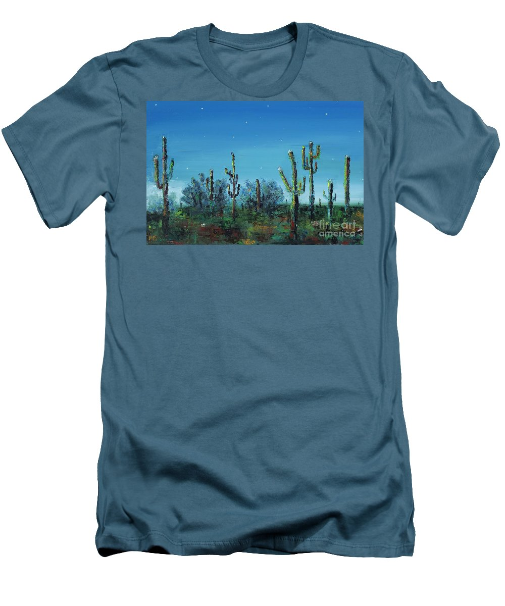 Desert Saguaro Catus In Bloom Men's T-Shirt (Athletic Fit) featuring the painting Desert Blue by Frances Marino