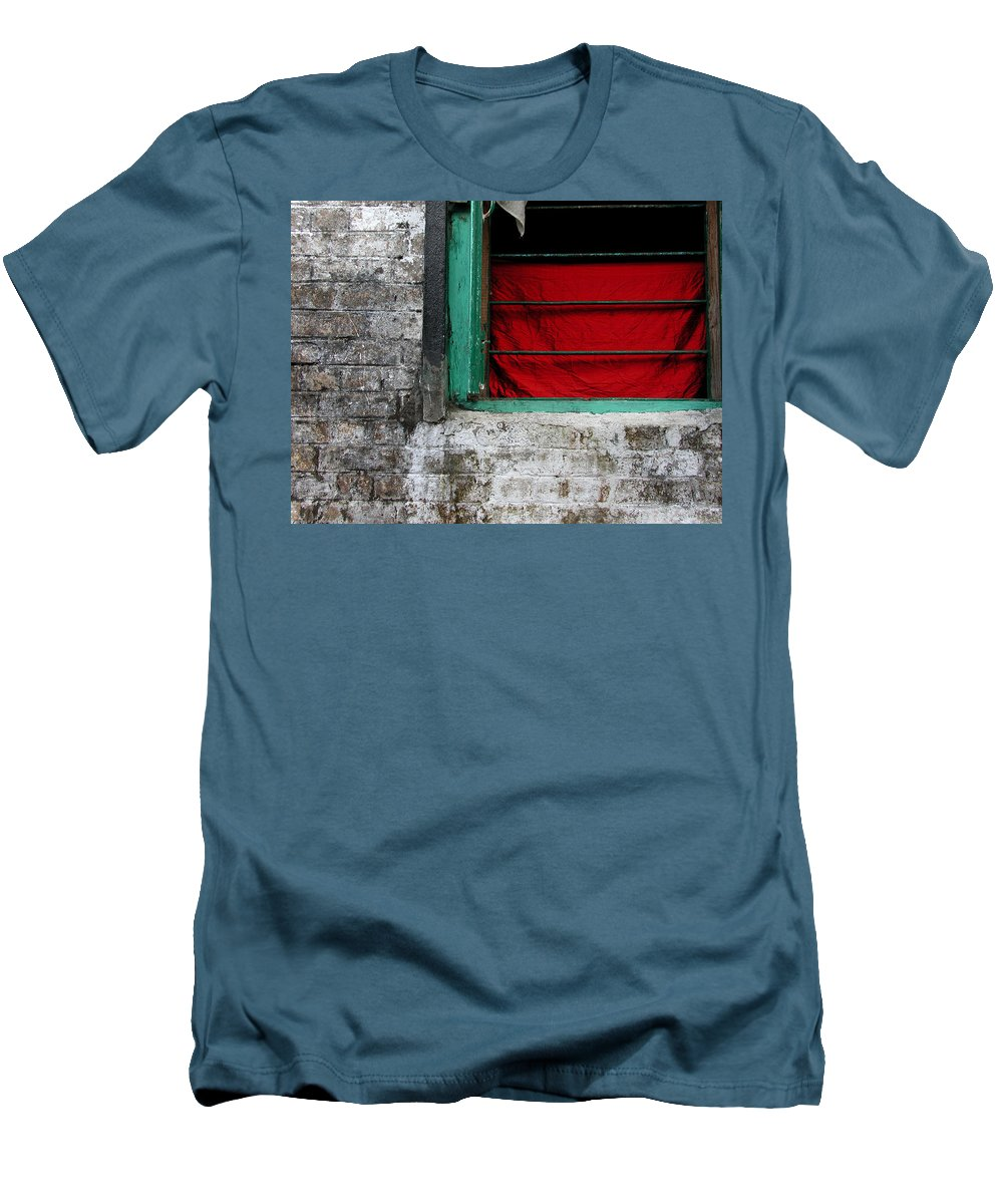 Red Men's T-Shirt (Athletic Fit) featuring the photograph Dharamsala Window by Skip Hunt