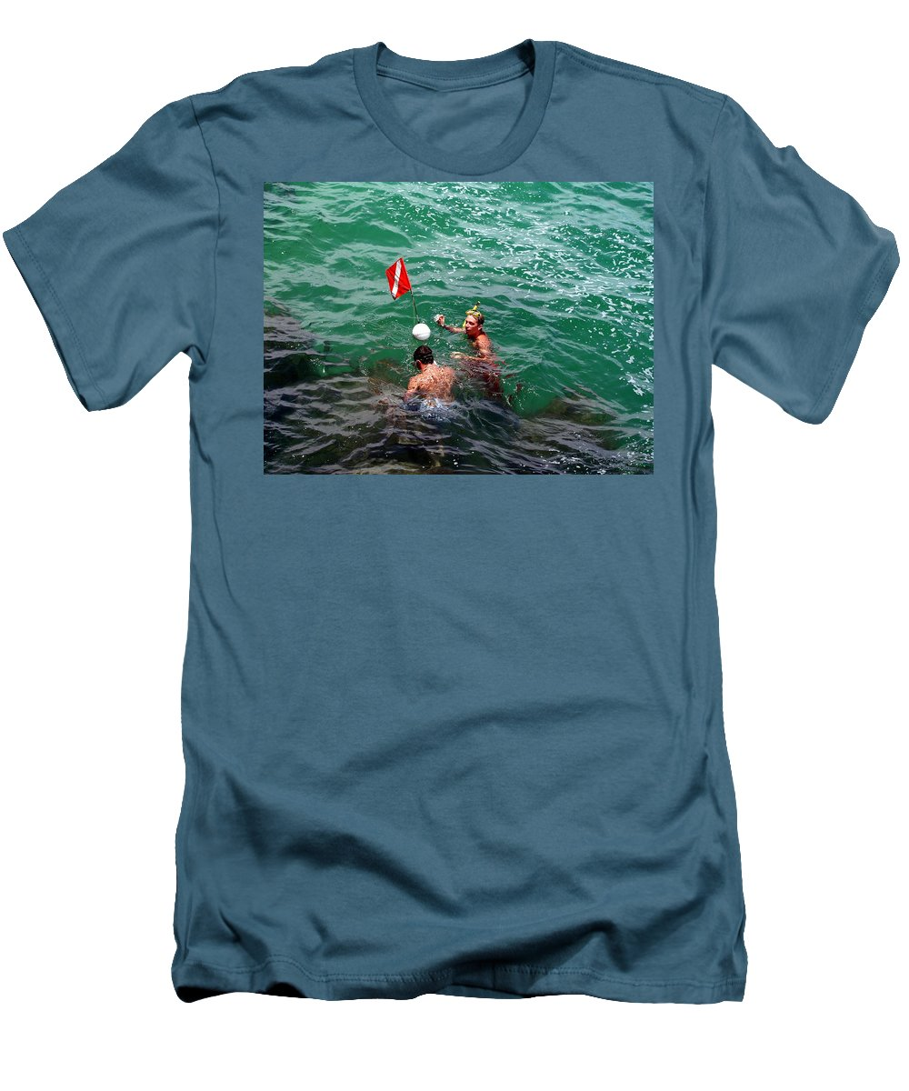 Boys Men's T-Shirt (Athletic Fit) featuring the photograph Divers At Sebastian Inlet On The Atlantic Coast Of Florida by Allan Hughes