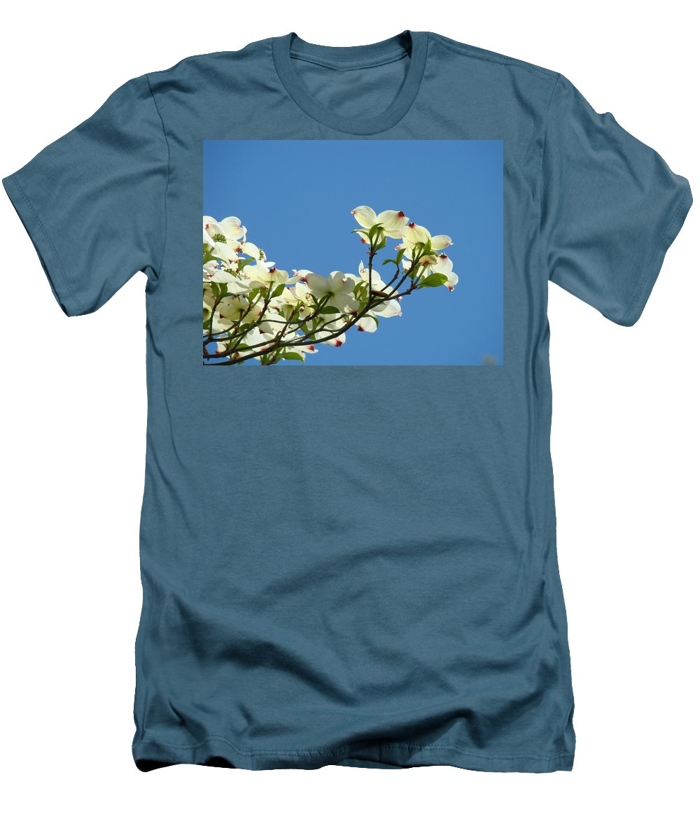 Dogwood Men's T-Shirt (Athletic Fit) featuring the photograph Dogwood Flowers Art Prints White Flowering Dogwood Tree Baslee Troutman by Baslee Troutman