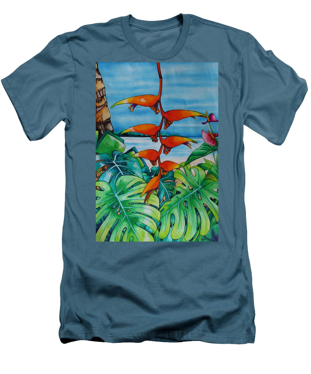 Heliconia Men's T-Shirt (Athletic Fit) featuring the painting Dominican Heliconia by Helen Weston