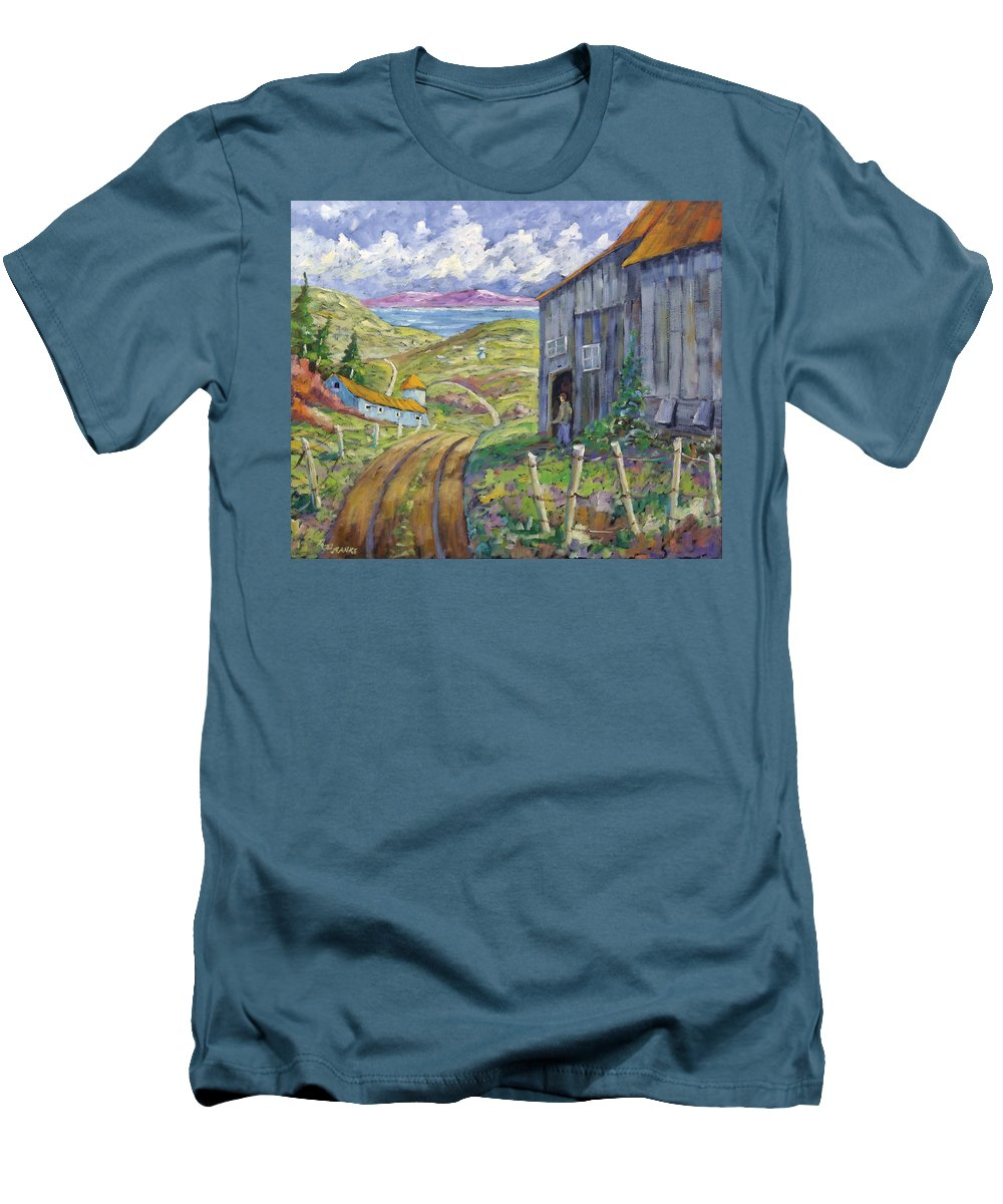Art Men's T-Shirt (Athletic Fit) featuring the painting Down To The Fjord by Richard T Pranke