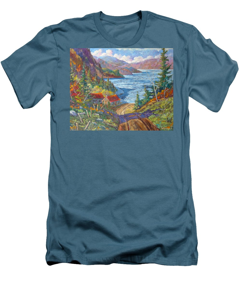 Landscape Men's T-Shirt (Athletic Fit) featuring the painting Down To The Lake by Richard T Pranke