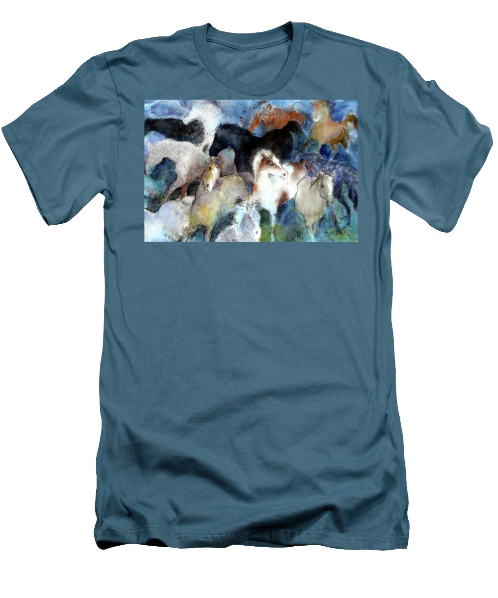 Horses Men's T-Shirt (Athletic Fit) featuring the painting Dream Of Wild Horses by Christie Michelsen
