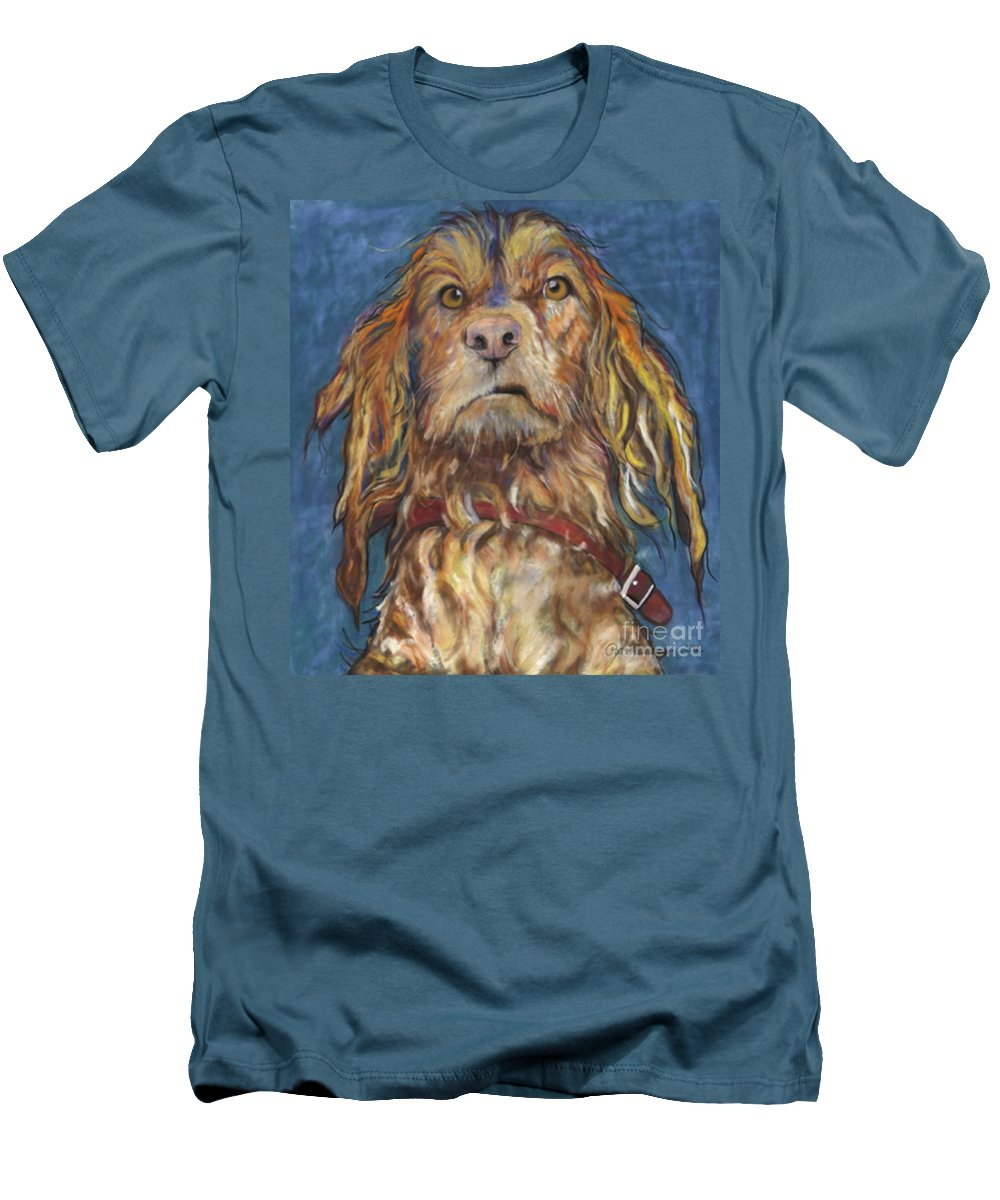 Golden Retriever Painting Men's T-Shirt (Athletic Fit) featuring the pastel Drenched by Pat Saunders-White