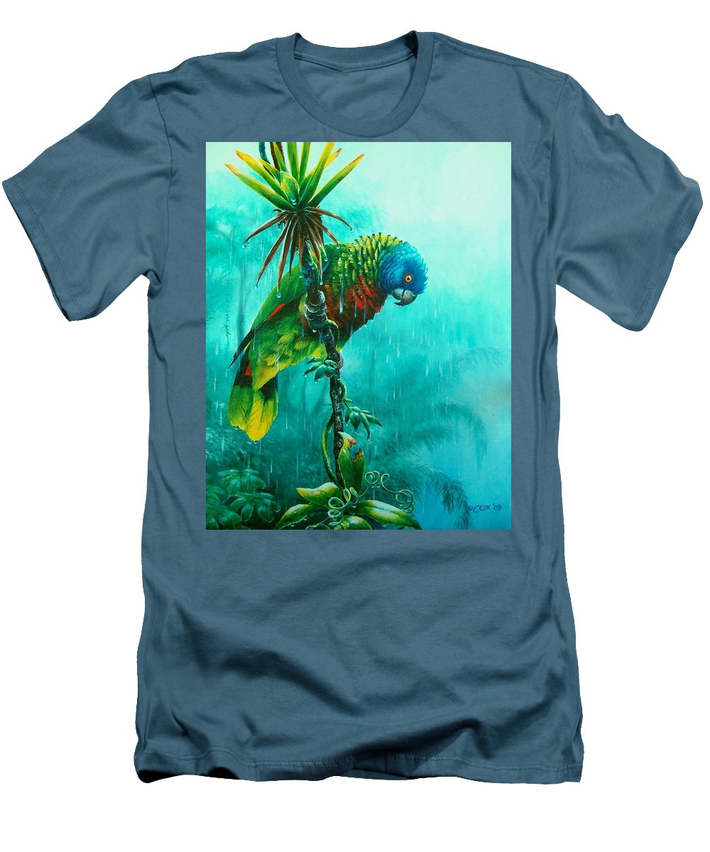 Chris Cox Men's T-Shirt (Athletic Fit) featuring the painting Drenched - St. Lucia Parrot by Christopher Cox