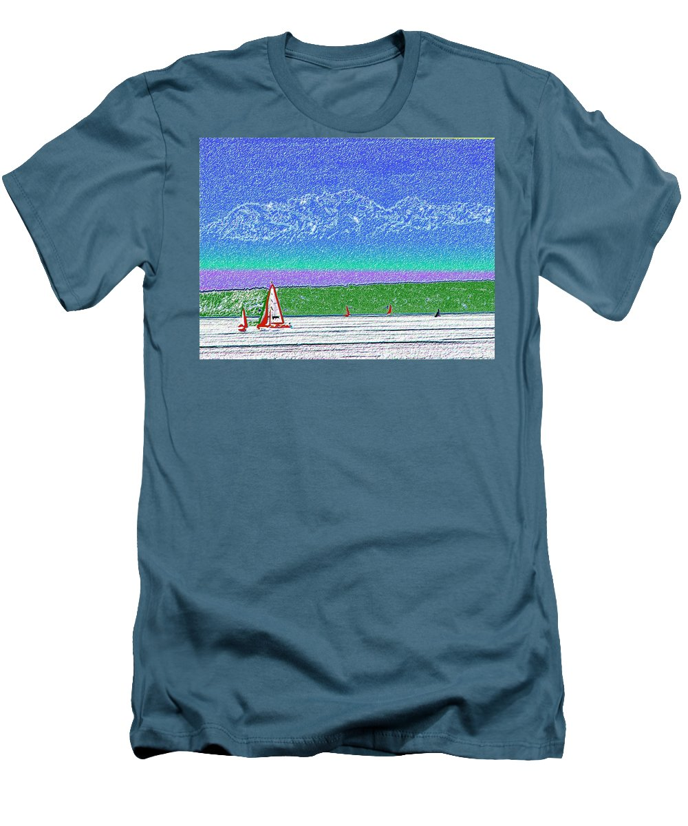 Seattle Men's T-Shirt (Athletic Fit) featuring the digital art Elliott Bay Sail by Tim Allen
