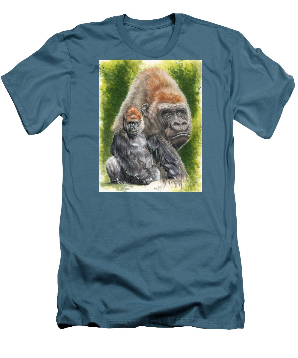 Gorilla Men's T-Shirt (Athletic Fit) featuring the mixed media Eloquent by Barbara Keith