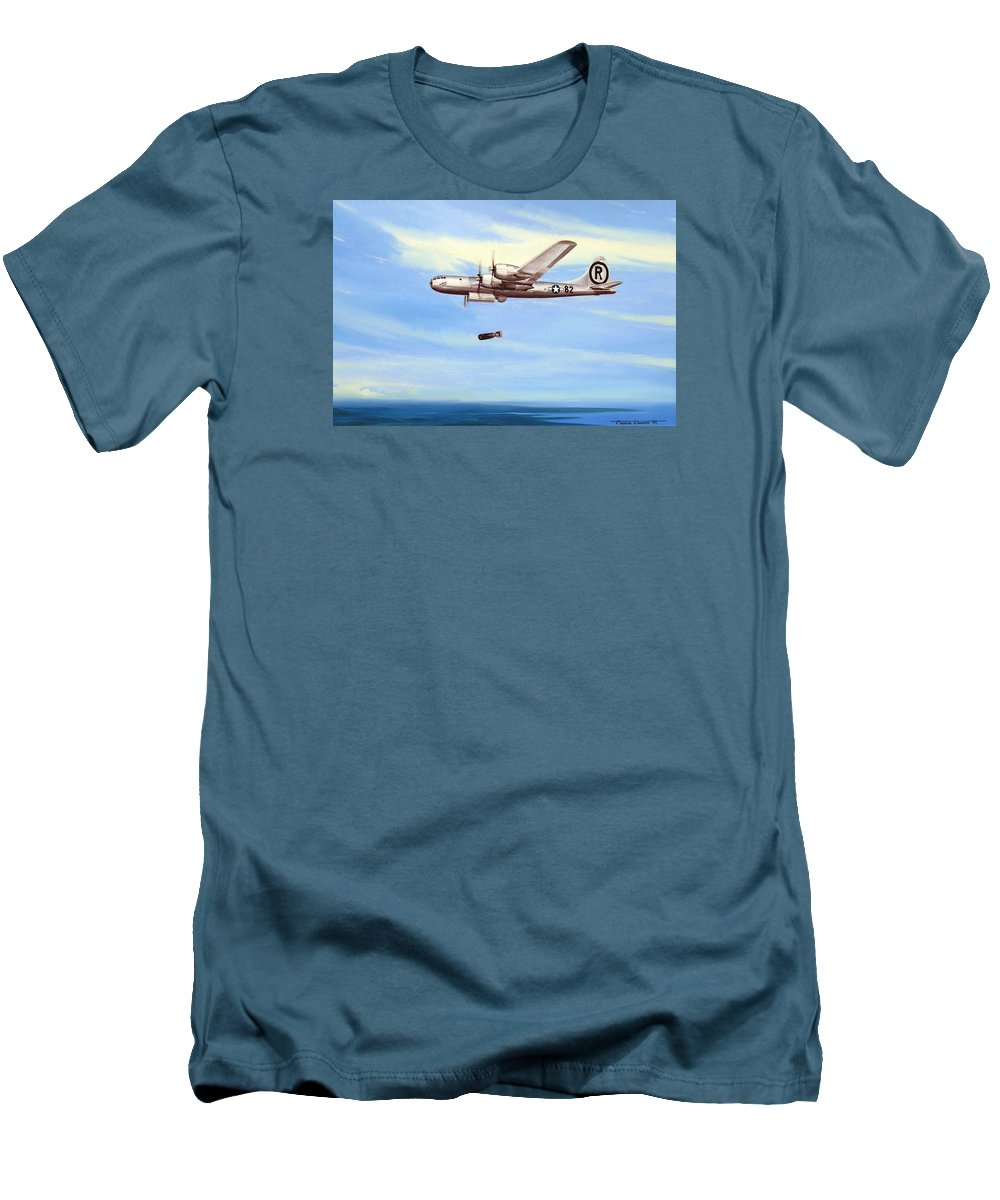 Military Men's T-Shirt (Athletic Fit) featuring the painting Enola Gay by Marc Stewart