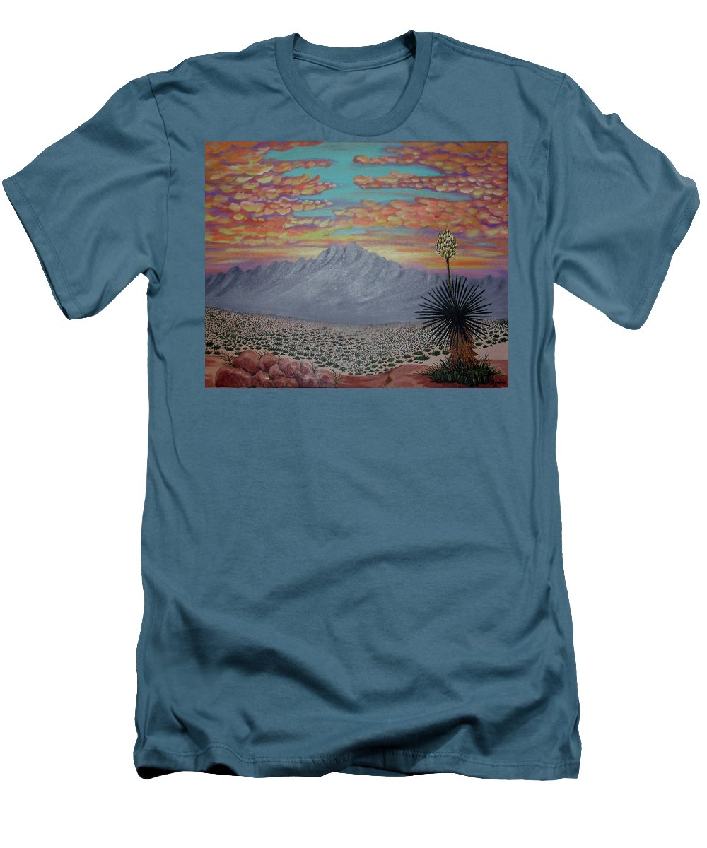 Desertscape Men's T-Shirt (Athletic Fit) featuring the painting Evening In The Desert by Marco Morales