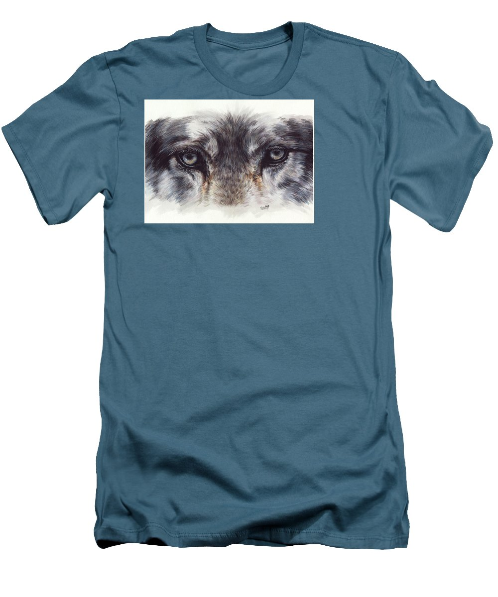 Wolf Men's T-Shirt (Athletic Fit) featuring the painting Eye-catching Wolf by Barbara Keith
