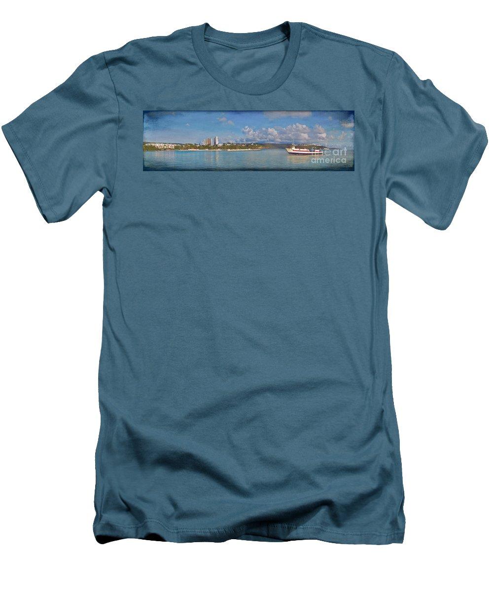 Fajardo Men's T-Shirt (Athletic Fit) featuring the photograph Fajardo Ferry Service To Culebra And Vieques Panorama by David Zanzinger