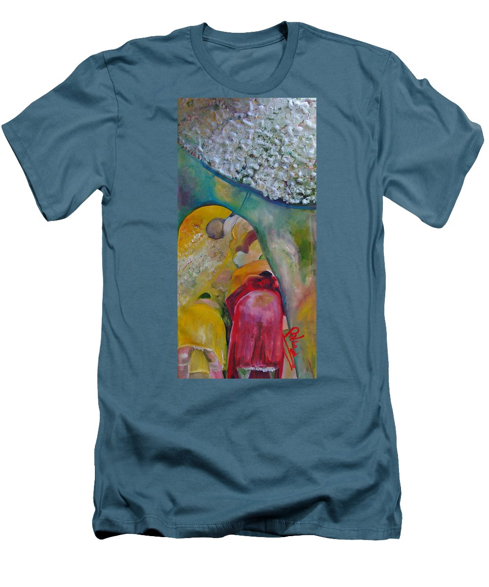 Cotton Men's T-Shirt (Athletic Fit) featuring the painting Fields Of Cotton by Peggy Blood