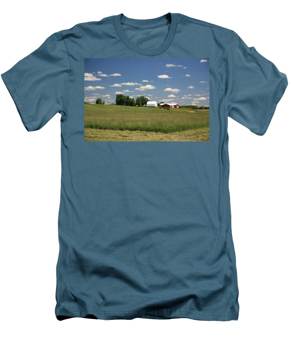 Farm Men's T-Shirt (Athletic Fit) featuring the photograph First Cutting by Robert Pearson