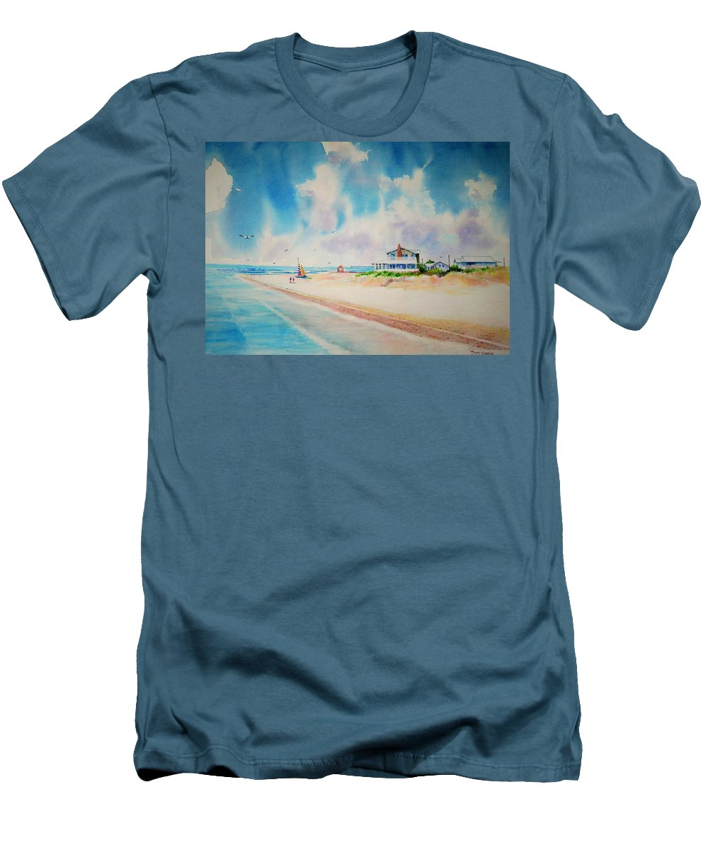 Beach Men's T-Shirt (Athletic Fit) featuring the painting First Day Of Vacation Is Pricless by Tom Harris