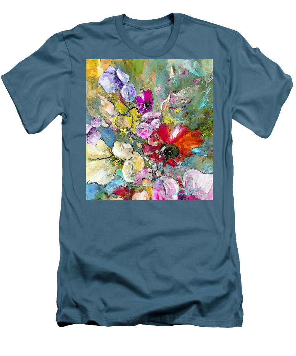 Nature Painting Men's T-Shirt (Athletic Fit) featuring the painting First Flowers by Miki De Goodaboom
