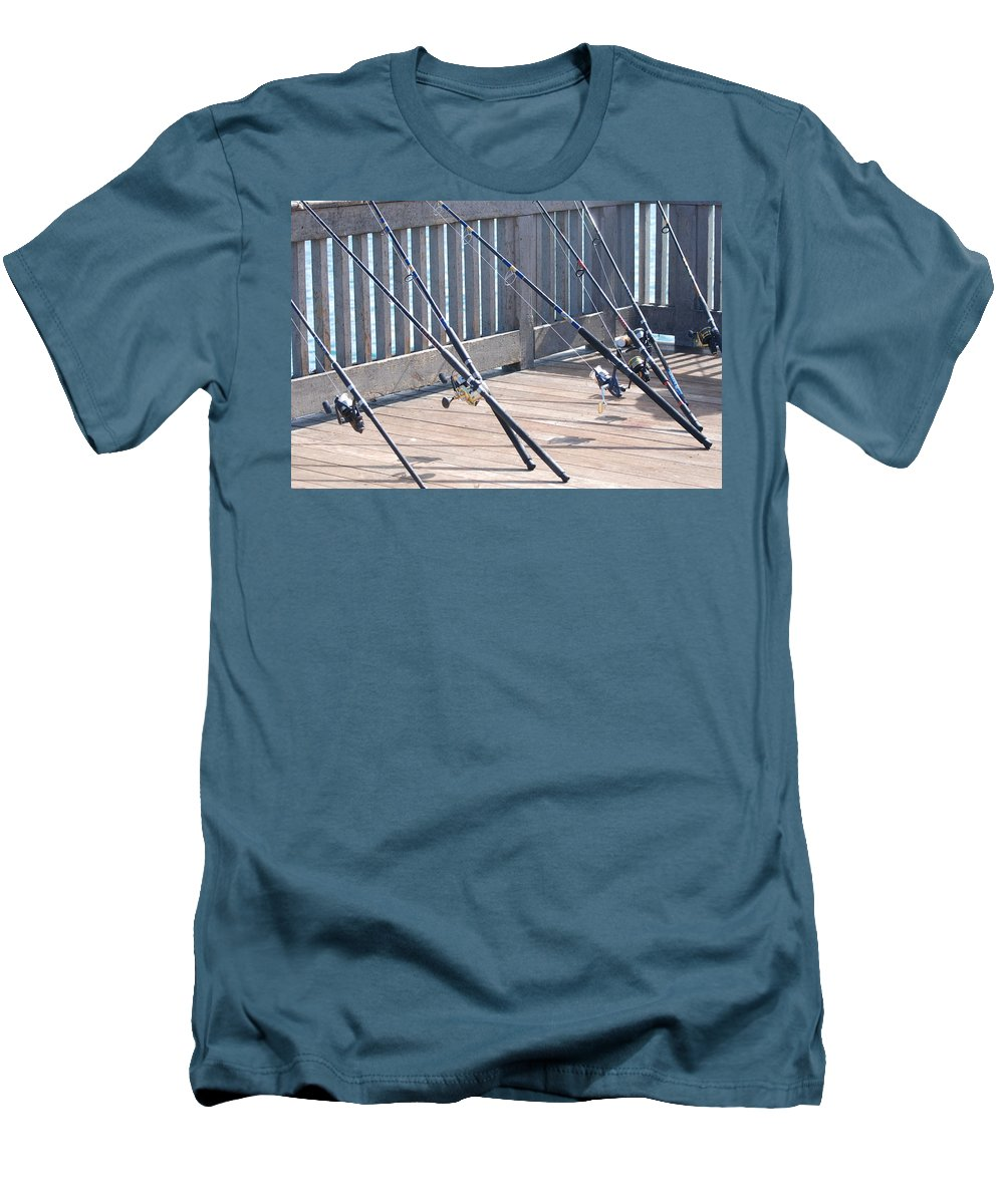 Pier Men's T-Shirt (Athletic Fit) featuring the photograph Fishing Rods by Rob Hans