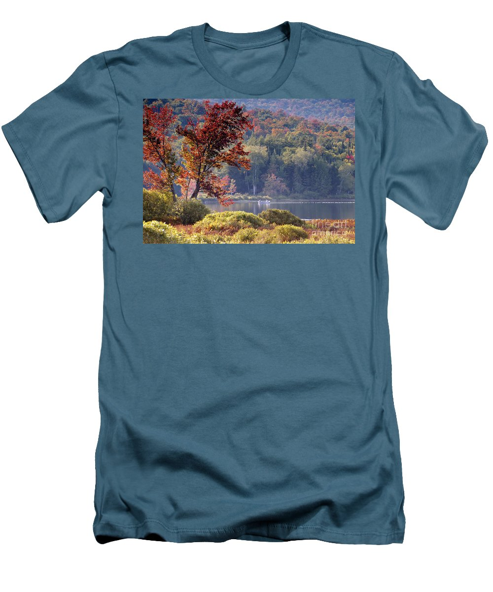 Adirondack Mountains Men's T-Shirt (Athletic Fit) featuring the photograph Fishing The Adirondacks by David Lee Thompson