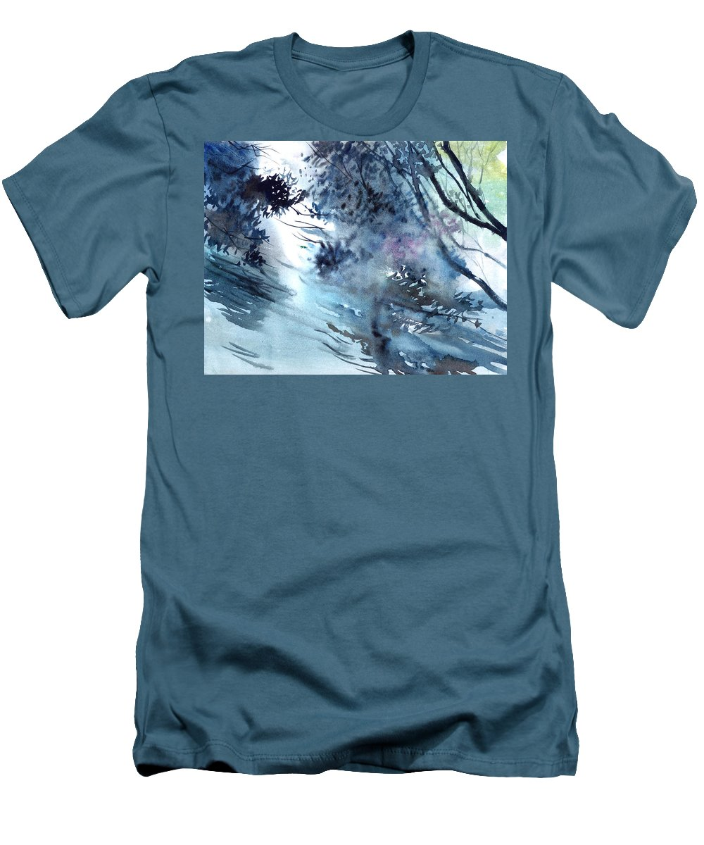 Floods Men's T-Shirt (Athletic Fit) featuring the painting Flooding by Anil Nene