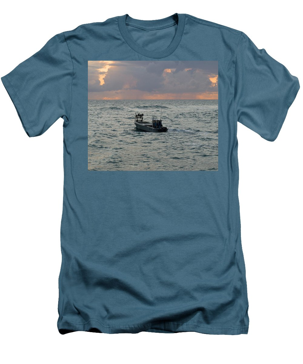 Florida; Lobster; Lobstermen; Lobsterman; Boat; Trap; Catch; Haul; Traps; Sebastian; Inlet; Atlantic Men's T-Shirt (Athletic Fit) featuring the photograph Florida Lobstermen At Dawn by Allan Hughes