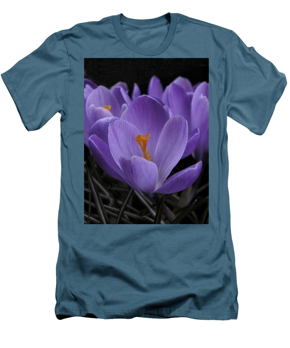 Flowers Men's T-Shirt (Athletic Fit) featuring the photograph Flower Crocus by Nancy Griswold