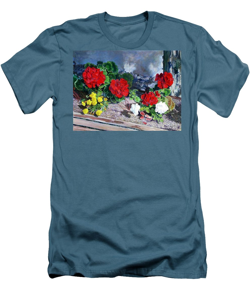 Colorful Flowers Outside Of The Church Men's T-Shirt (Athletic Fit) featuring the painting Flowers At Church by Scott Robertson