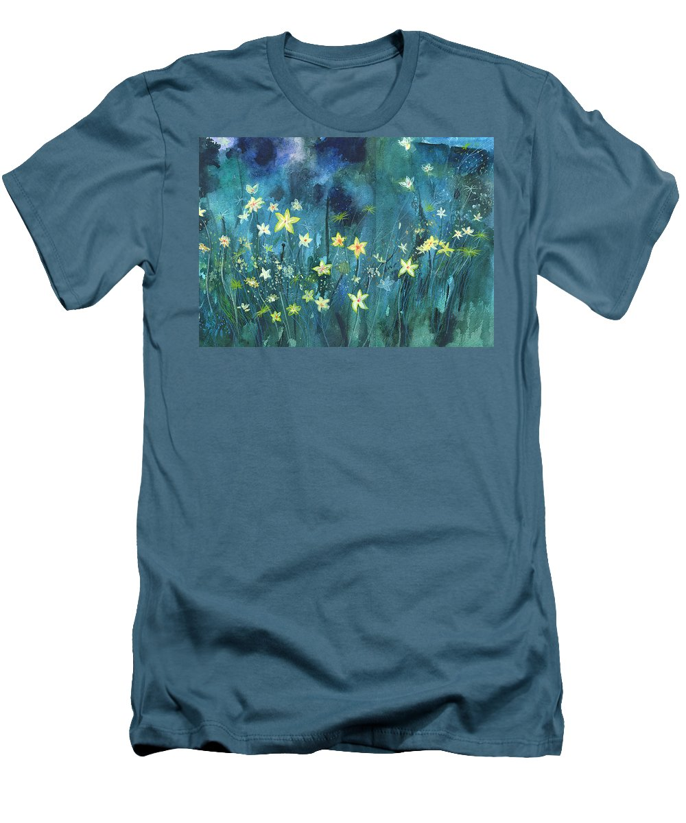 Landscape Men's T-Shirt (Athletic Fit) featuring the painting Flowers N Breeze by Anil Nene