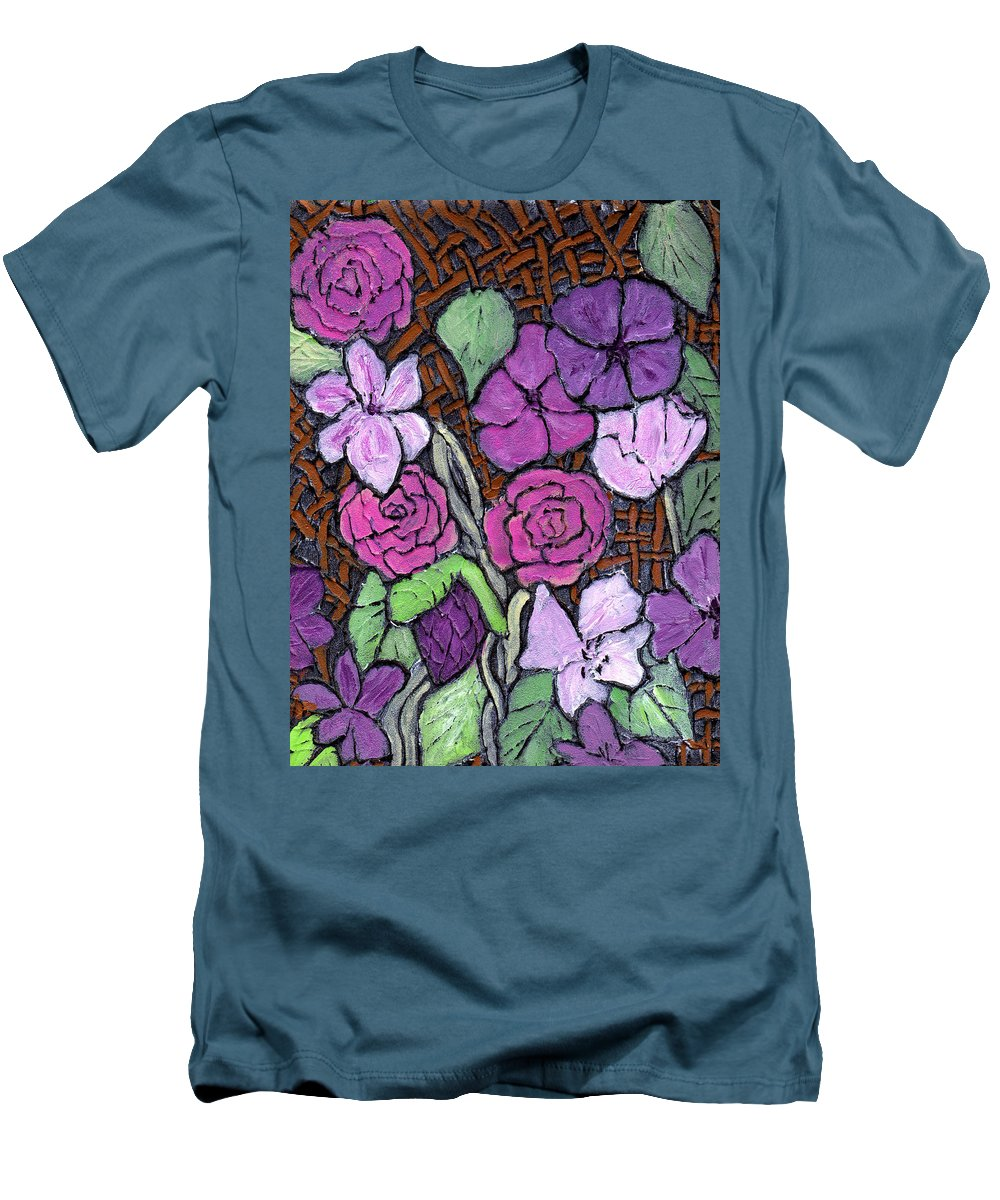 Flowers Men's T-Shirt (Athletic Fit) featuring the painting Flowers With Basket Weave by Wayne Potrafka