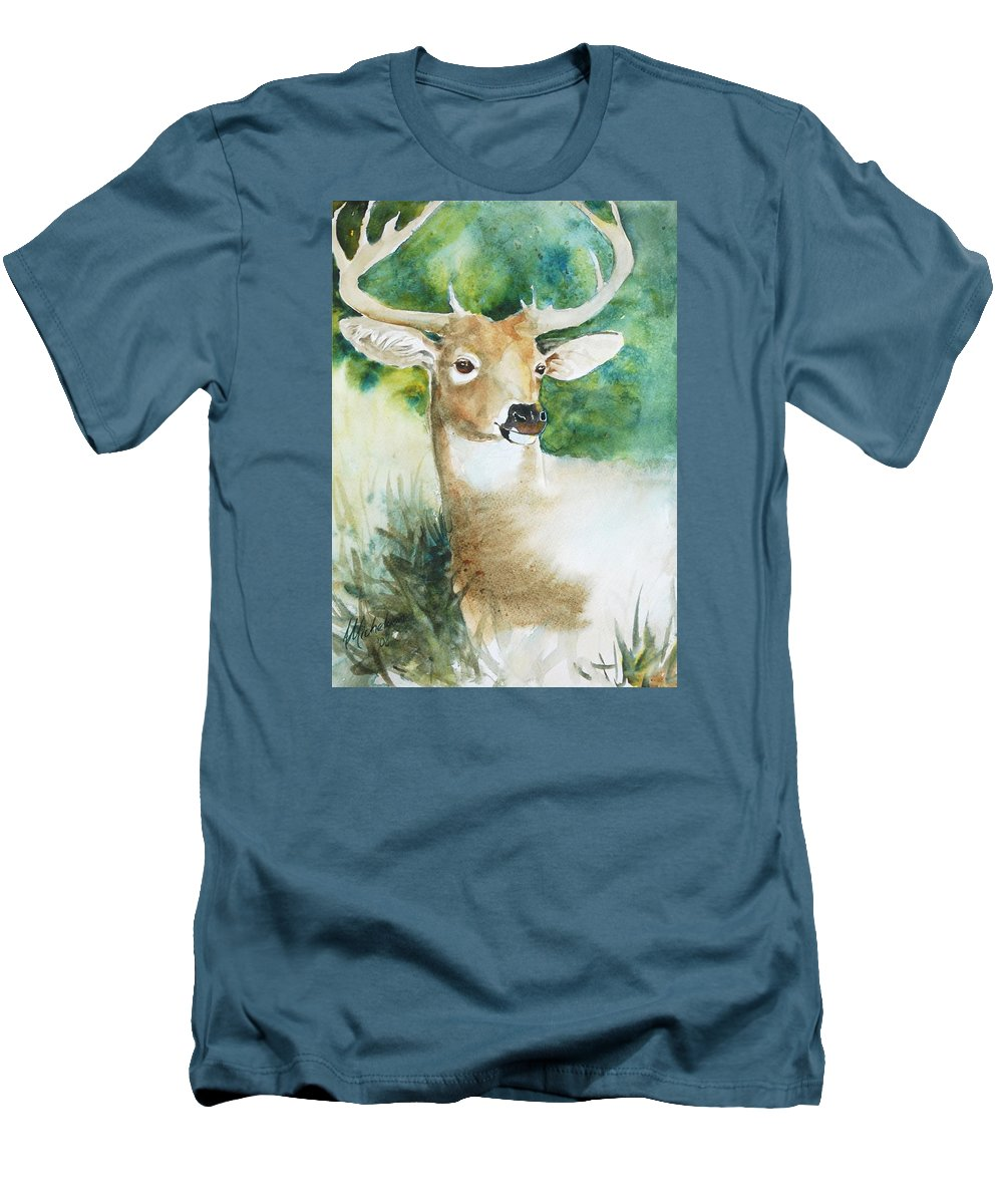 Deer Men's T-Shirt (Athletic Fit) featuring the painting Forest Spirit by Christie Michelsen