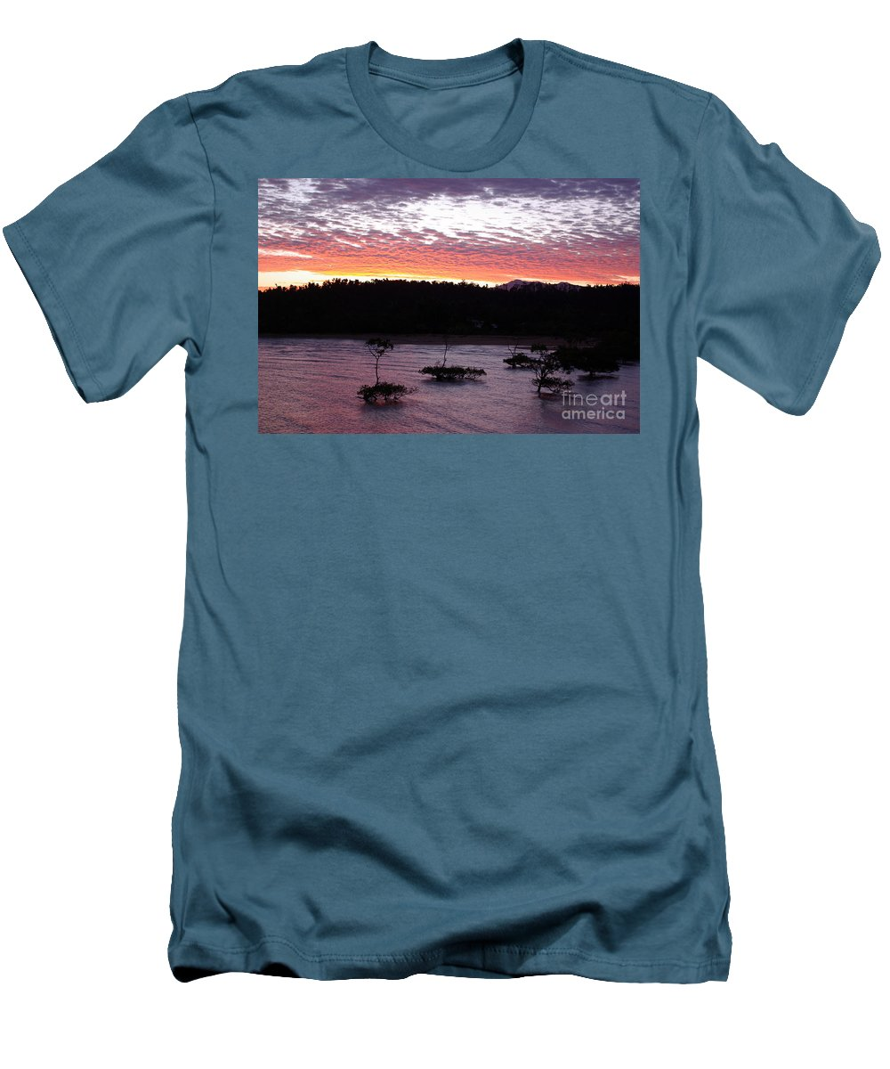 Landscape Men's T-Shirt (Athletic Fit) featuring the photograph Four Elements Sunset Sequence 8 Coconuts Qld by Kerryn Madsen - Pietsch