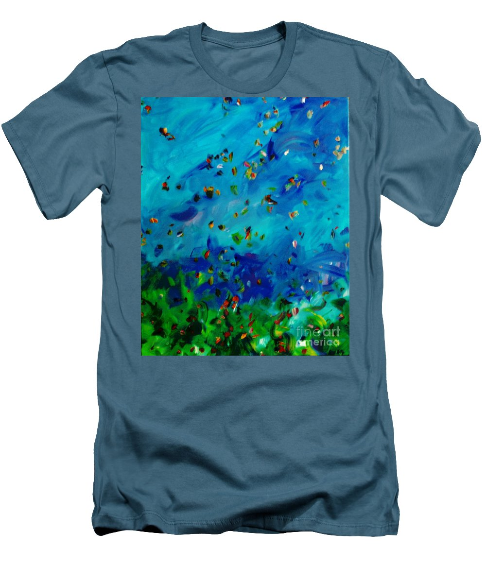 Landscape Men's T-Shirt (Athletic Fit) featuring the painting Freelancing by Reina Resto