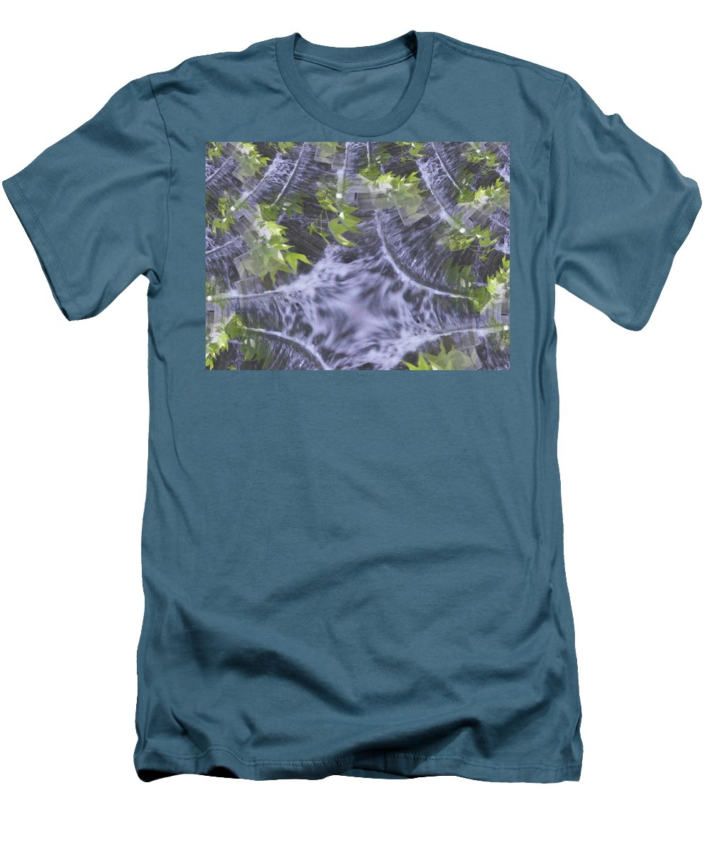 Seattle Men's T-Shirt (Athletic Fit) featuring the digital art Freeway Park Waterfall 2 by Tim Allen