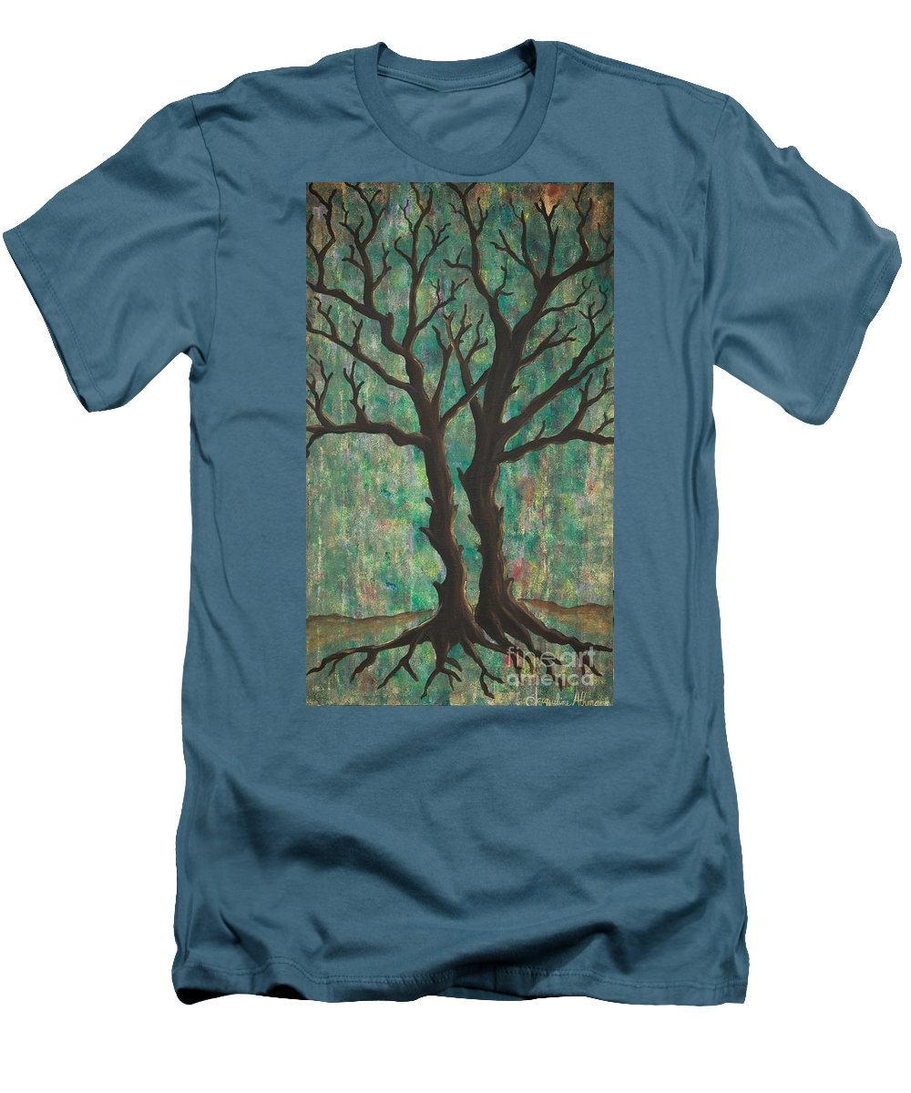 Trees Men's T-Shirt (Athletic Fit) featuring the painting Friends by Jacqueline Athmann