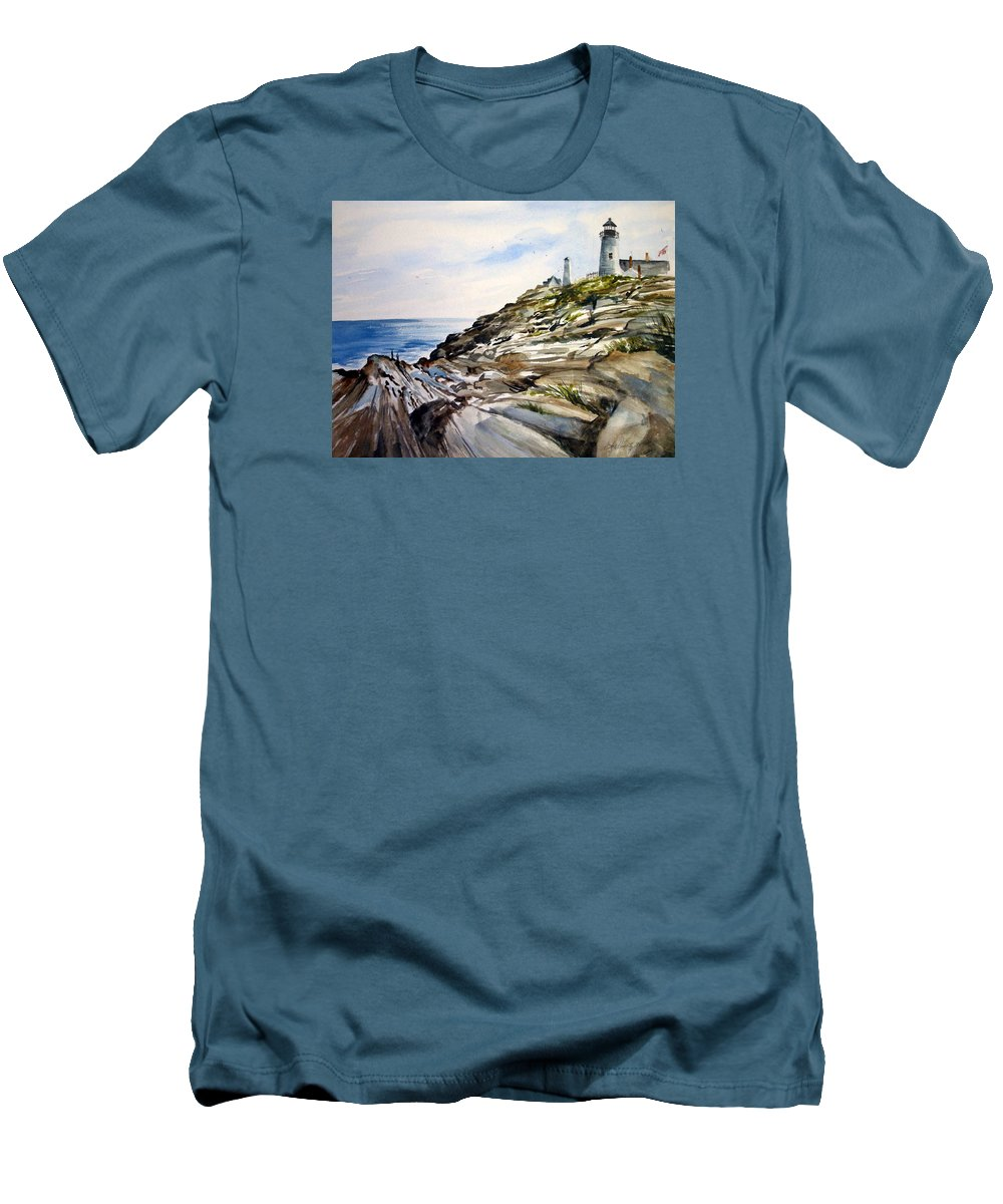 Pemaquid Light House;rocks;ocean;maine;pemaquid;light;lighthouse; Men's T-Shirt (Athletic Fit) featuring the painting From The Rocks Below by Lois Mountz