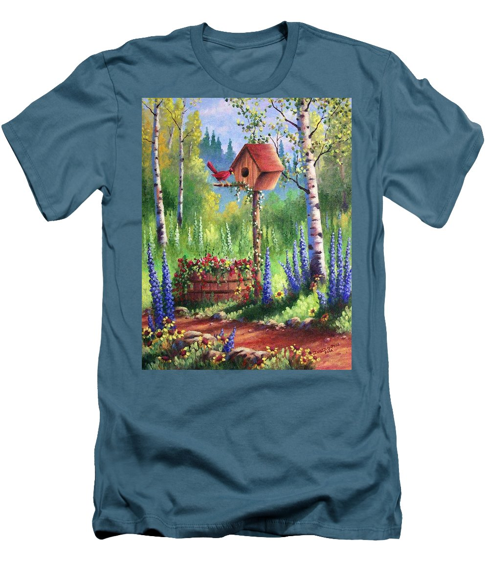 Bird Men's T-Shirt (Athletic Fit) featuring the painting Garden Birdhouse by David G Paul
