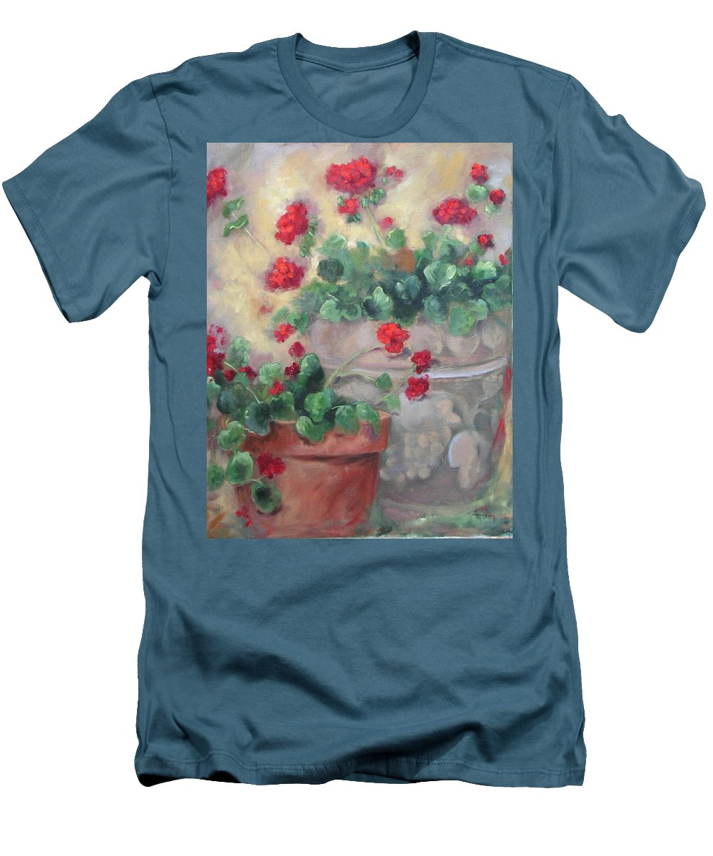 Geraniums Men's T-Shirt (Athletic Fit) featuring the painting Geraniums by Ginger Concepcion