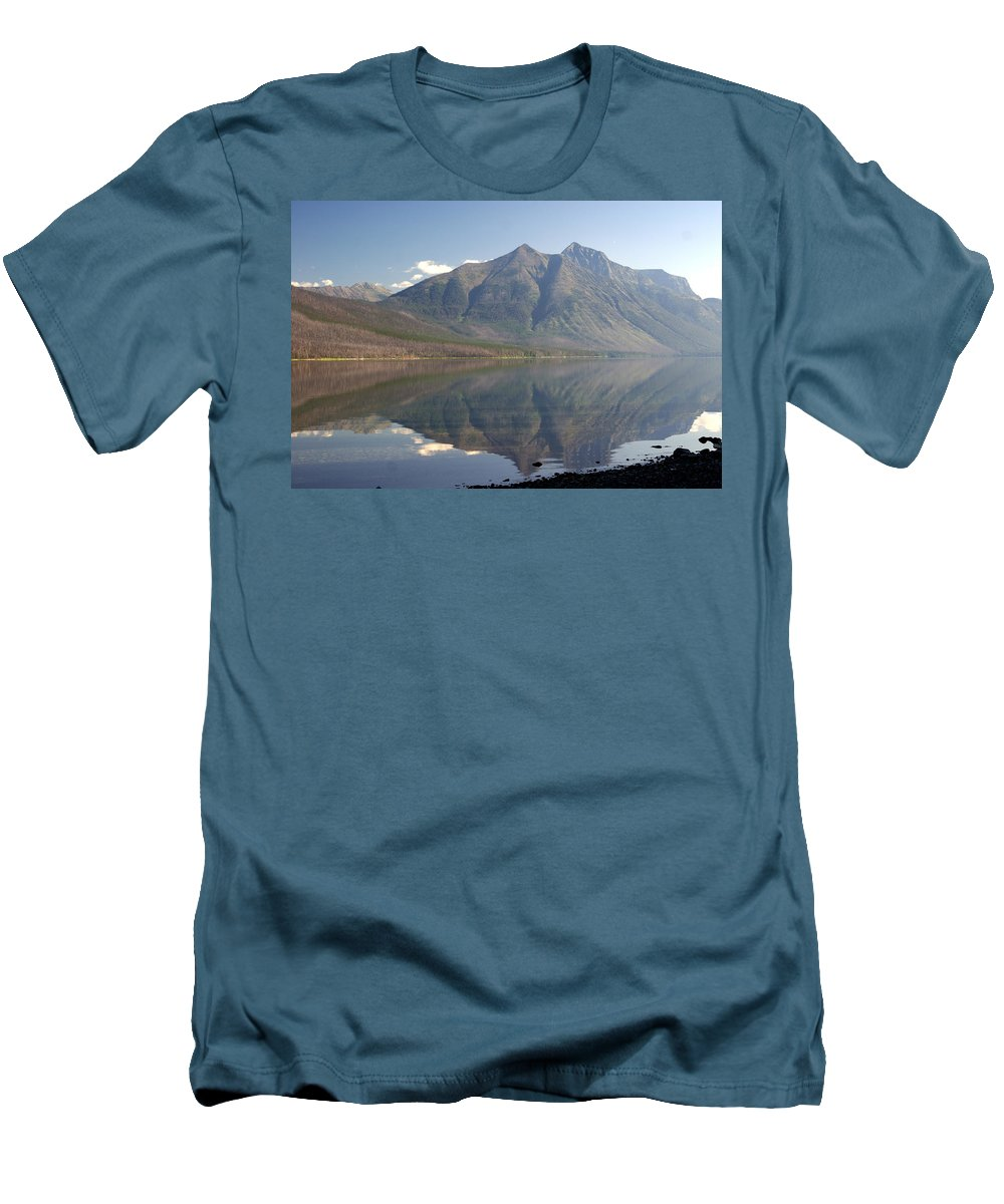 Glacier National Park Men's T-Shirt (Athletic Fit) featuring the photograph Glacier Reflection1 by Marty Koch