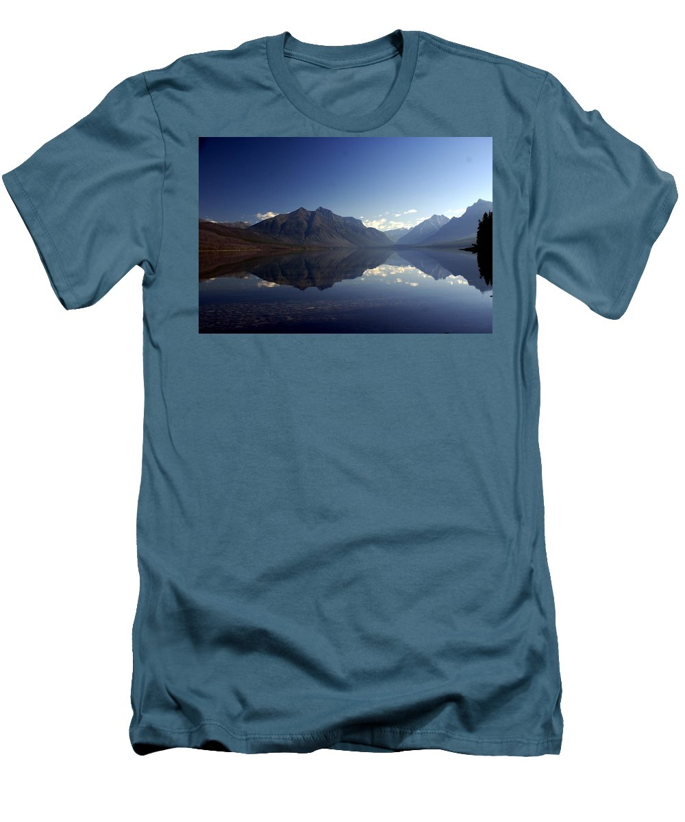 Glacier National Park Men's T-Shirt (Athletic Fit) featuring the photograph Glacier Reflections 2 by Marty Koch