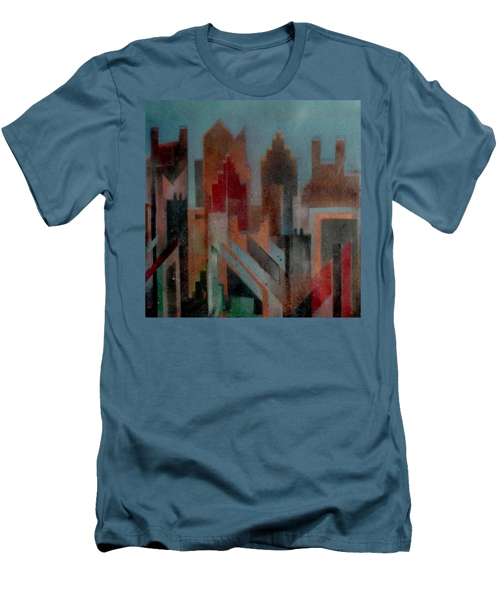 Abstract Men's T-Shirt (Athletic Fit) featuring the painting Gothem City by Anita Burgermeister
