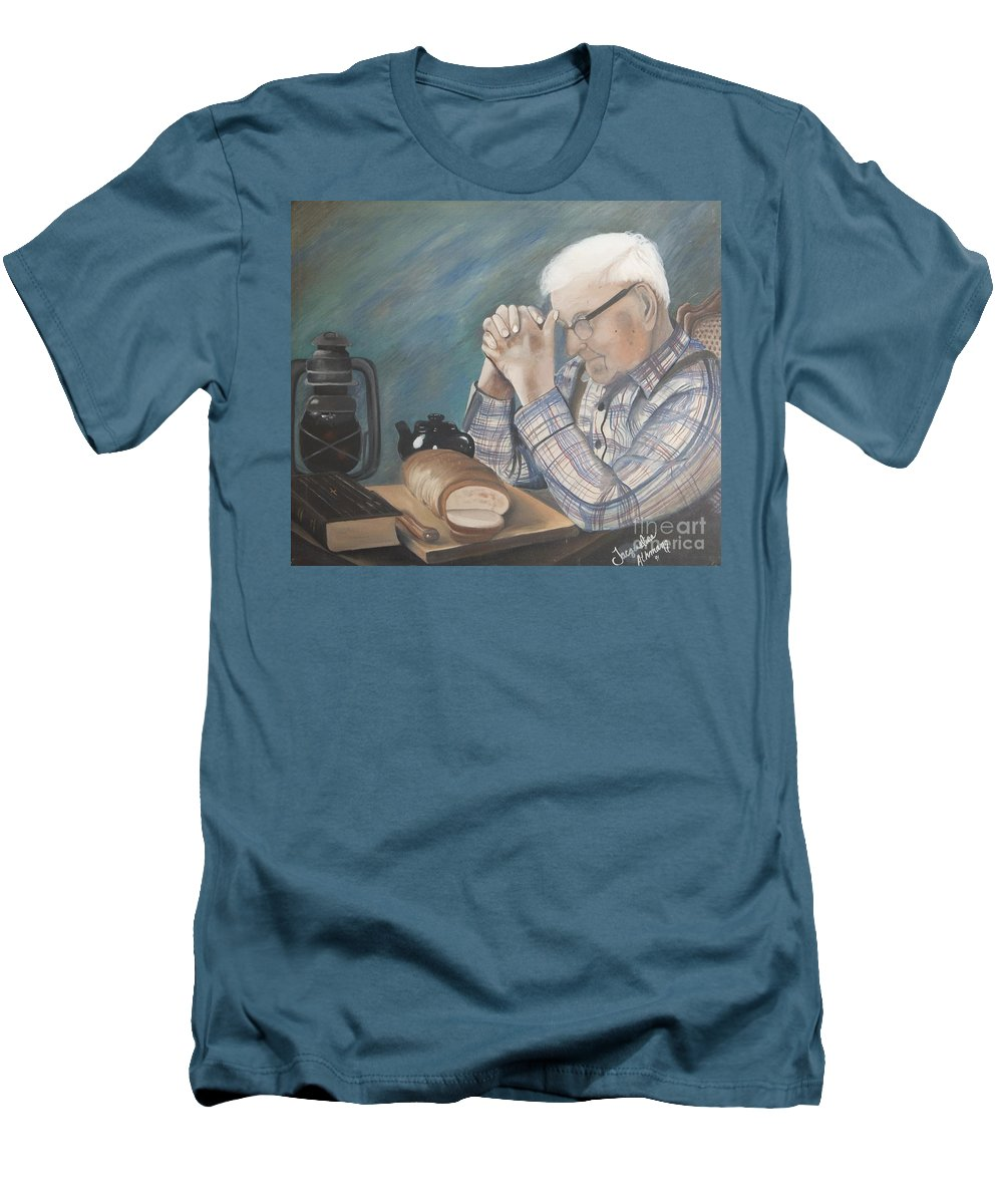 Great Grandpa Men's T-Shirt (Athletic Fit) featuring the painting Great Grandpa by Jacqueline Athmann