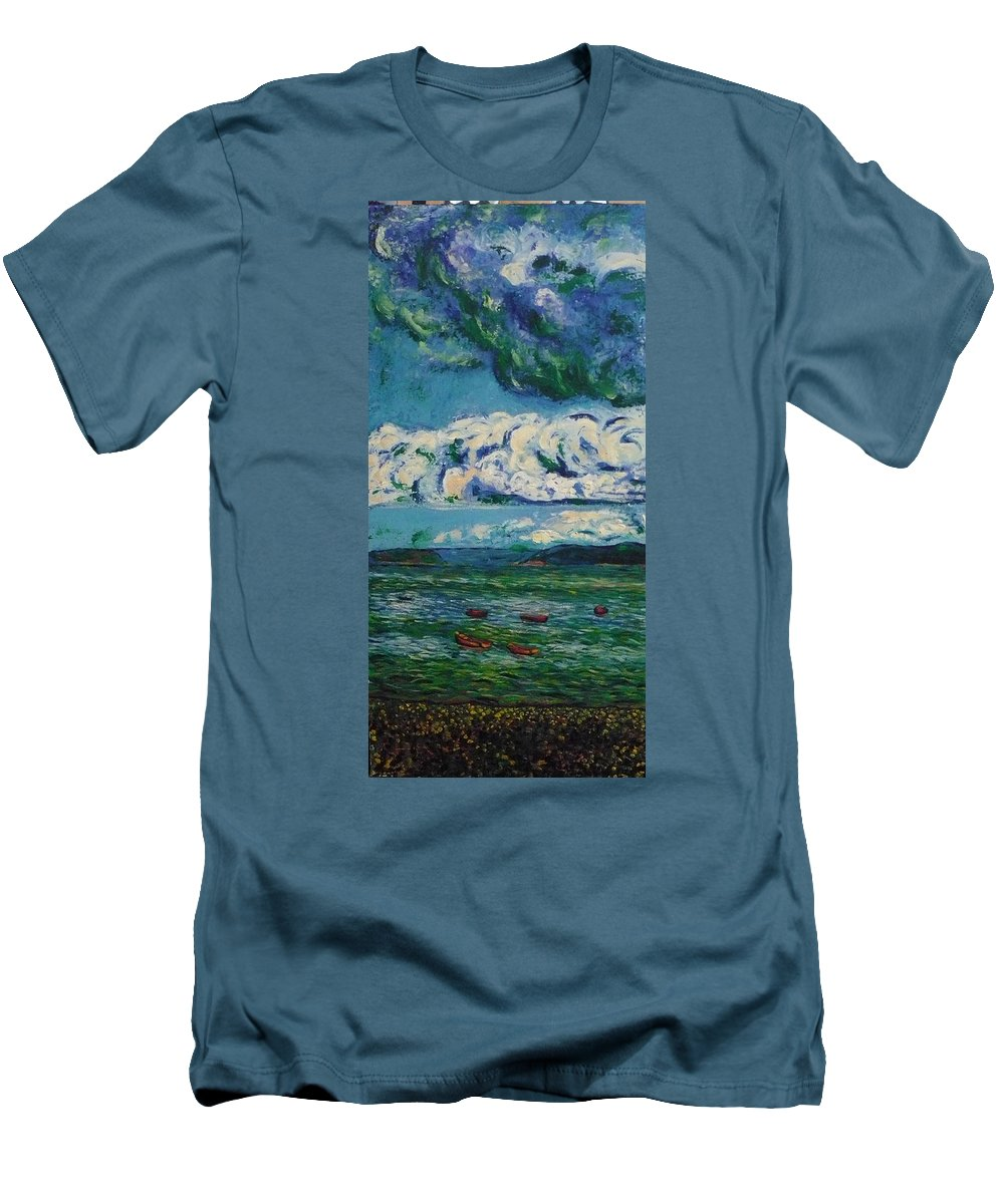 Landscape Men's T-Shirt (Athletic Fit) featuring the painting Green Beach by Ericka Herazo