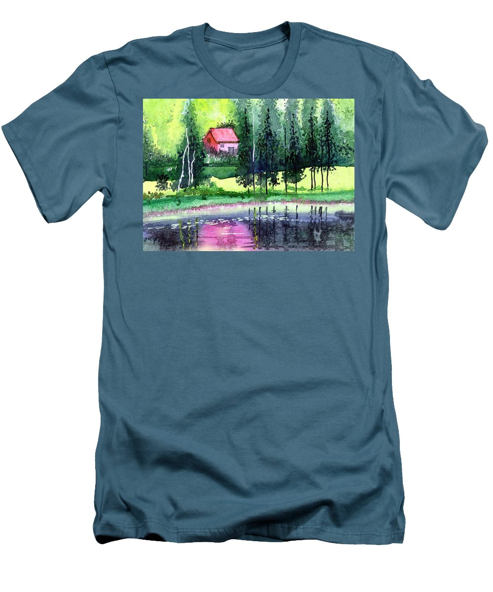 Landscape Men's T-Shirt (Athletic Fit) featuring the painting Guest House by Anil Nene