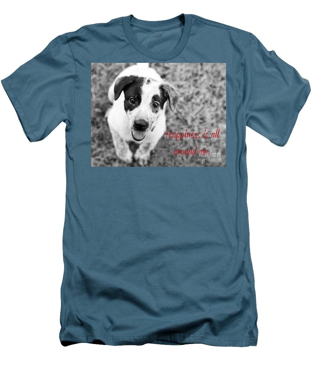 Puppy Men's T-Shirt (Athletic Fit) featuring the photograph Happiness Is All Around Me by Amanda Barcon