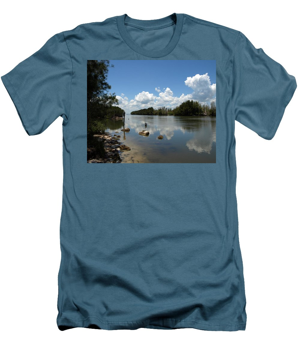Eco-tourist; Ecotourist; Eco; Tourist; Kayak; Manatee; Sea; Cow; Ecology; Environment; Endangered; S Men's T-Shirt (Athletic Fit) featuring the photograph Haulover Canal On The Space Coast Of Florida by Allan Hughes